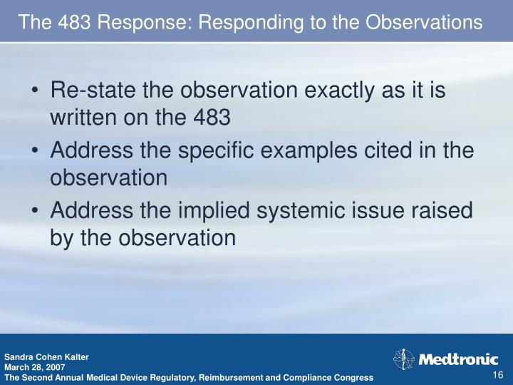 The 483 Response: Responding to the Observations