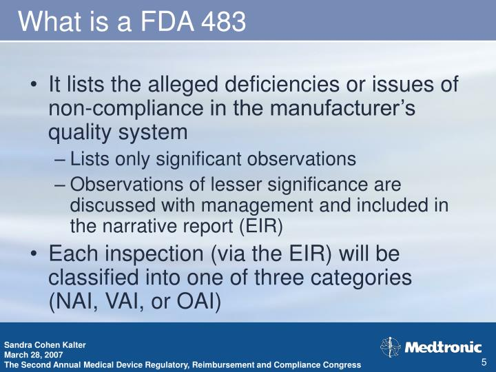What is a FDA 483