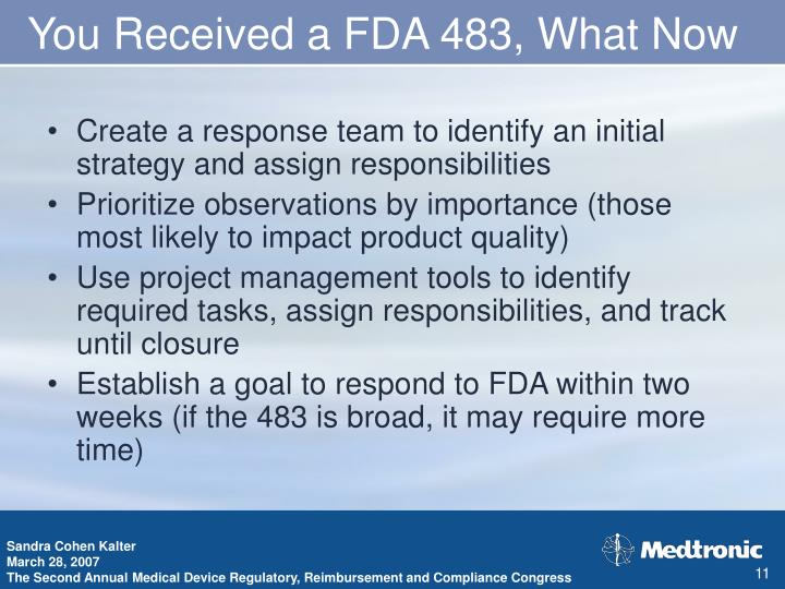 You Received a FDA 483, What Now