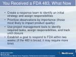 you received a fda 483 what now