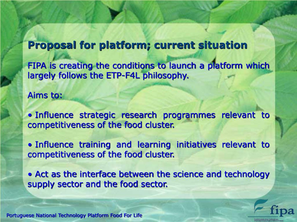 Proposal for platform; current situation