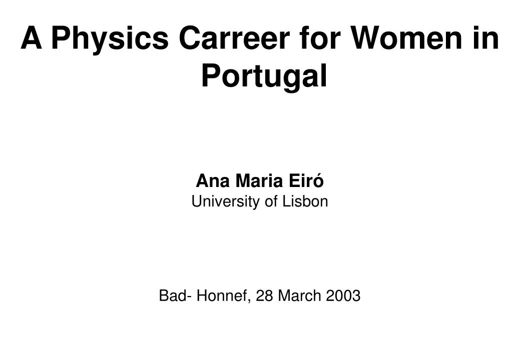 A Physics Carreer for Women in