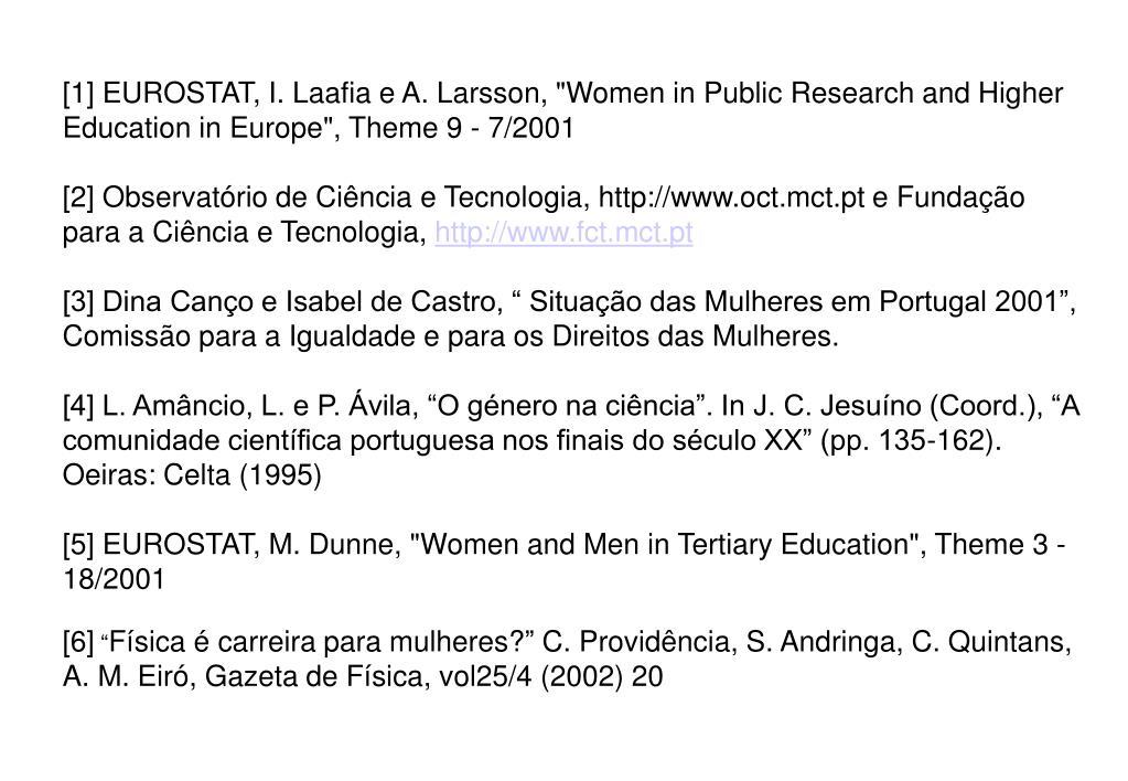[1] EUROSTAT, I. Laafia e A. Larsson,