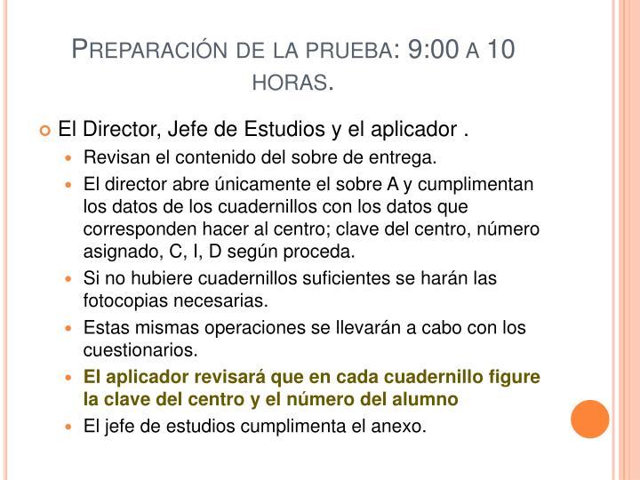 Preparación de la prueba: 9:00 a 10 horas.