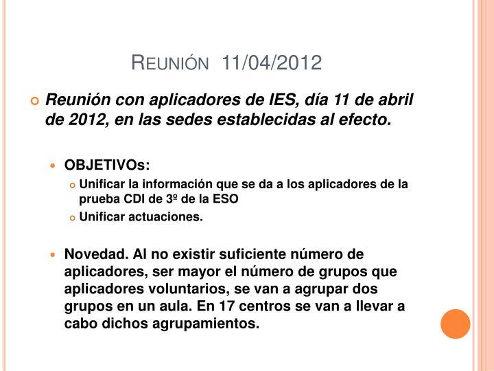 Reunión  11/04/2012