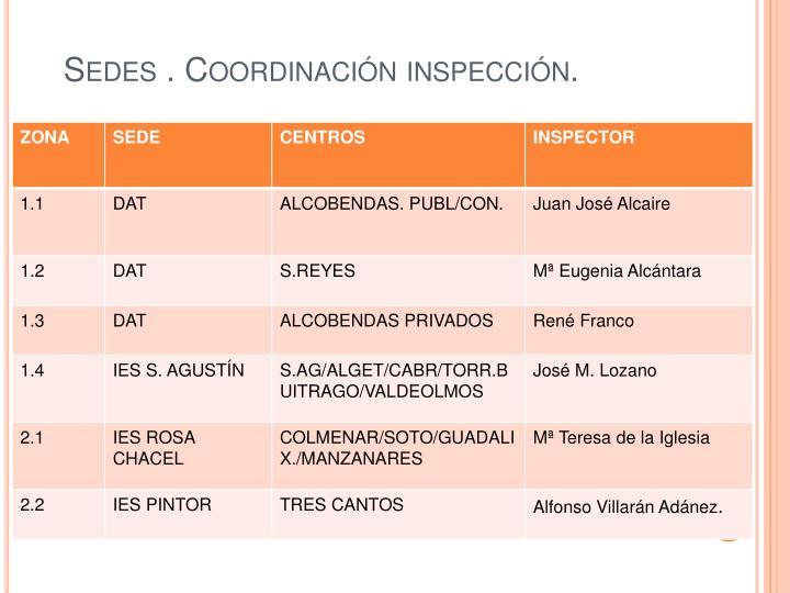 Sedes . Coordinación inspección.
