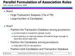 parallel formulation of association rules han karypis and kumar 2000