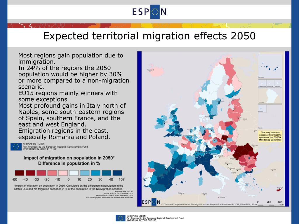 Expected territorial migration effects 2050