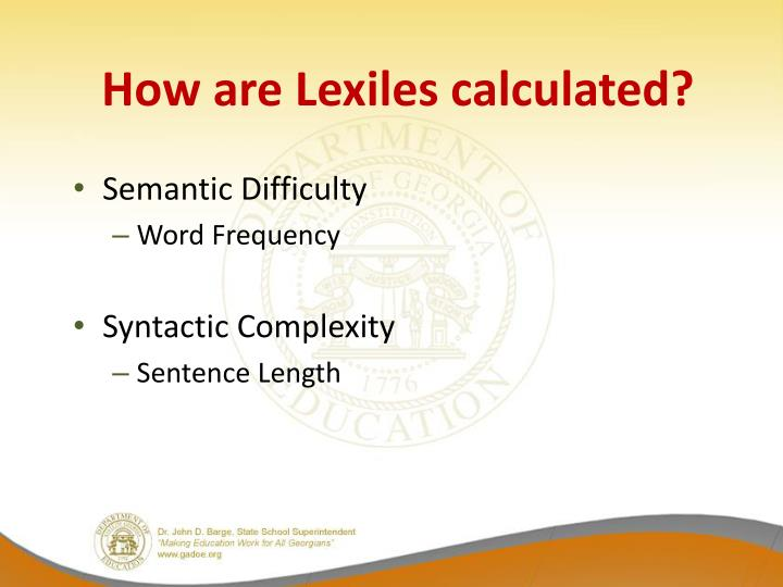 How are Lexiles calculated?