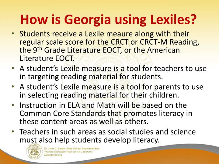 How is Georgia using Lexiles?