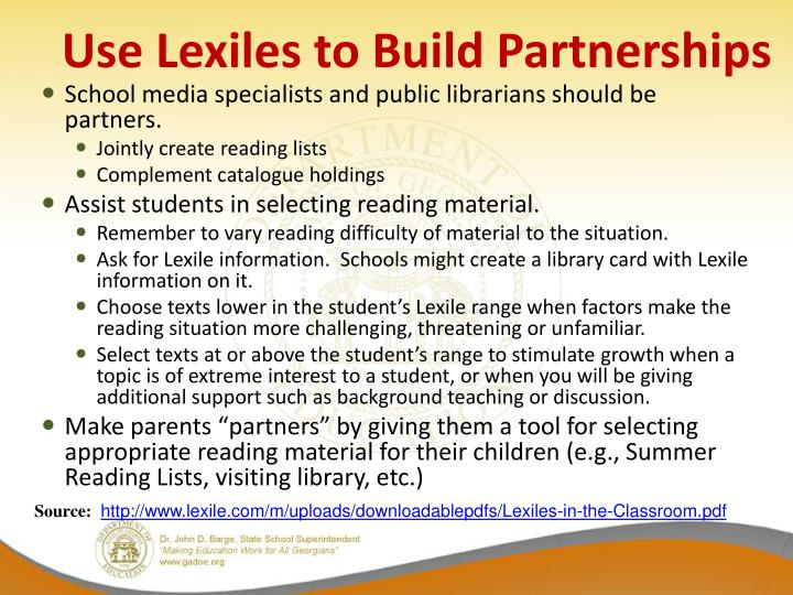 Use Lexiles to Build Partnerships