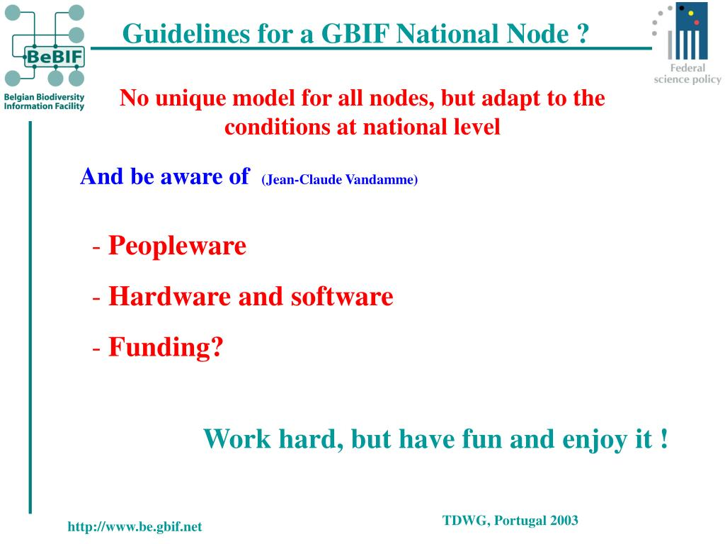 Guidelines for a GBIF National Node ?