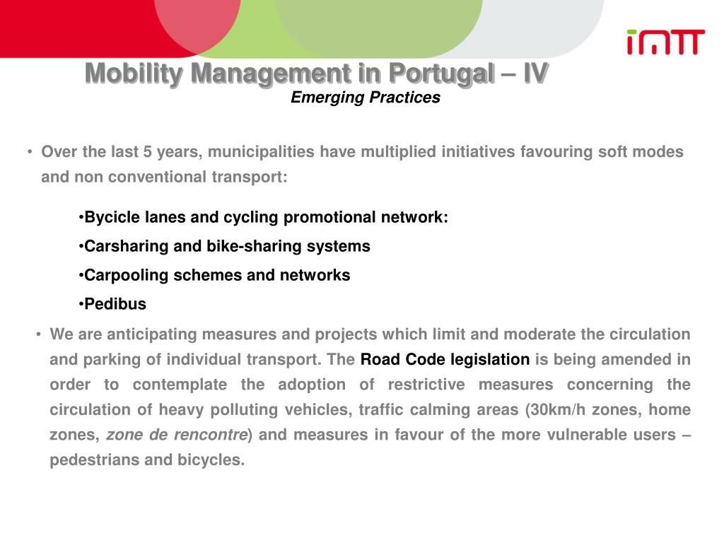 Mobility Management in Portugal