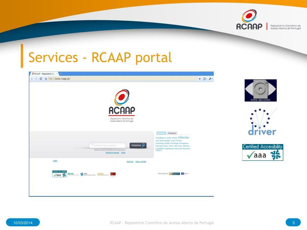Services - RCAAP portal