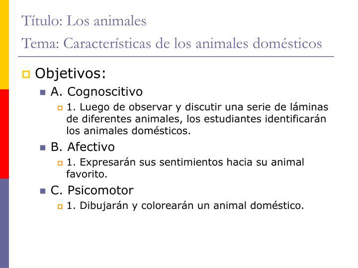 Título: Los animales
