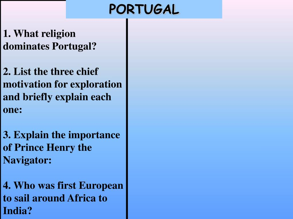 1. What religion dominates Portugal?