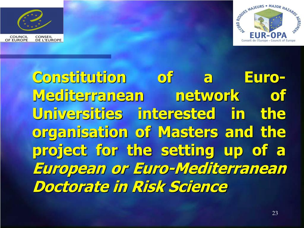 Constitution of a Euro-Mediterranean network of Universities interested in the organisation of Masters and the project for the setting up of a