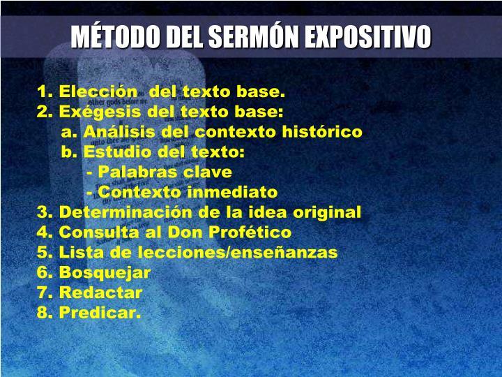MÉTODO DEL SERMÓN EXPOSITIVO
