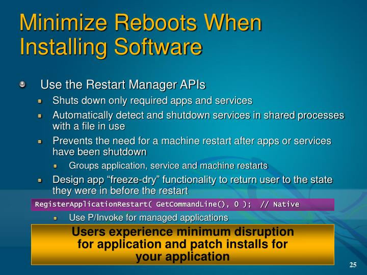 Minimize Reboots When Installing Software