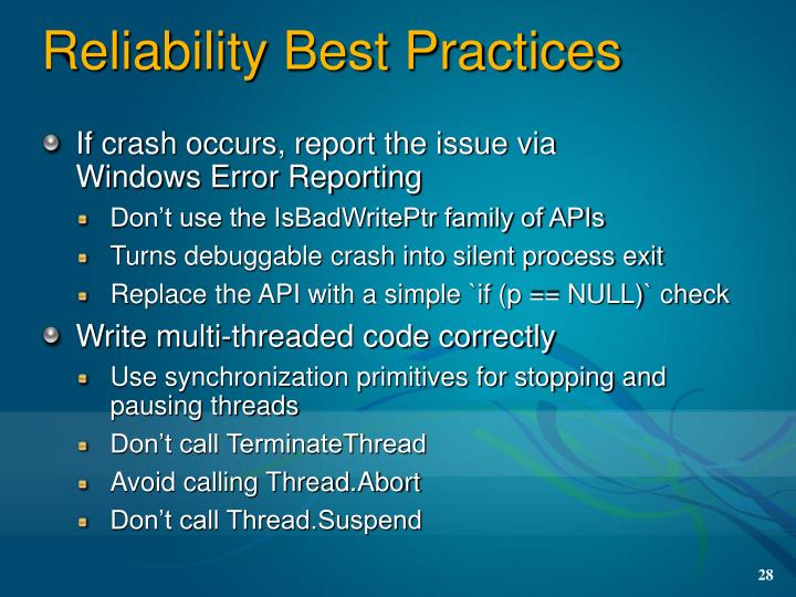 Reliability Best Practices
