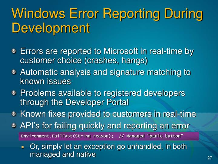 Windows Error Reporting During Development