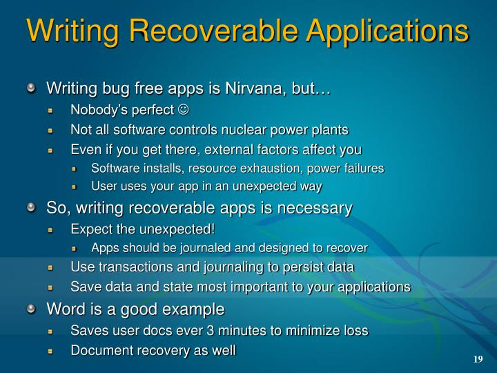 Writing Recoverable Applications