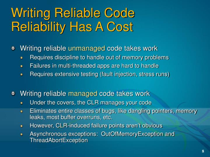 Writing Reliable Code