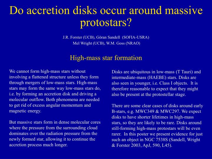 Do accretion disks occur around massive protostars l.jpg