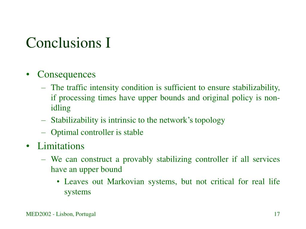 Conclusions I