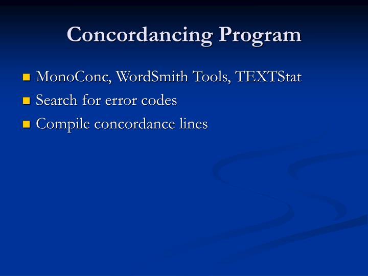 Concordancing Program