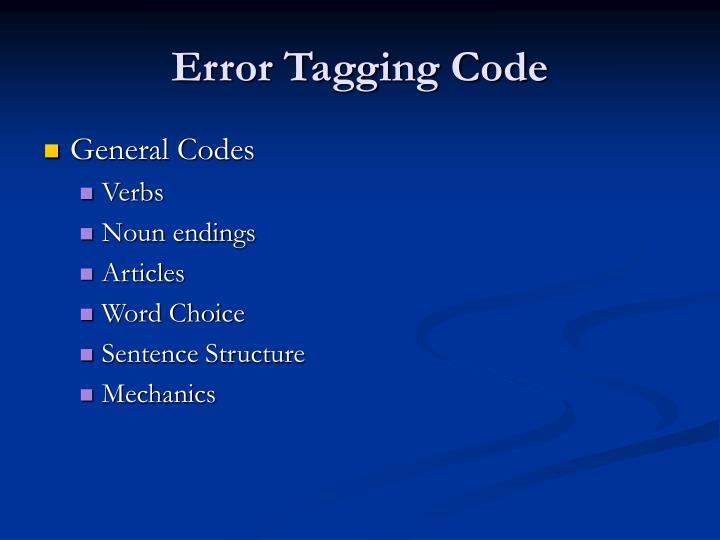 Error Tagging Code