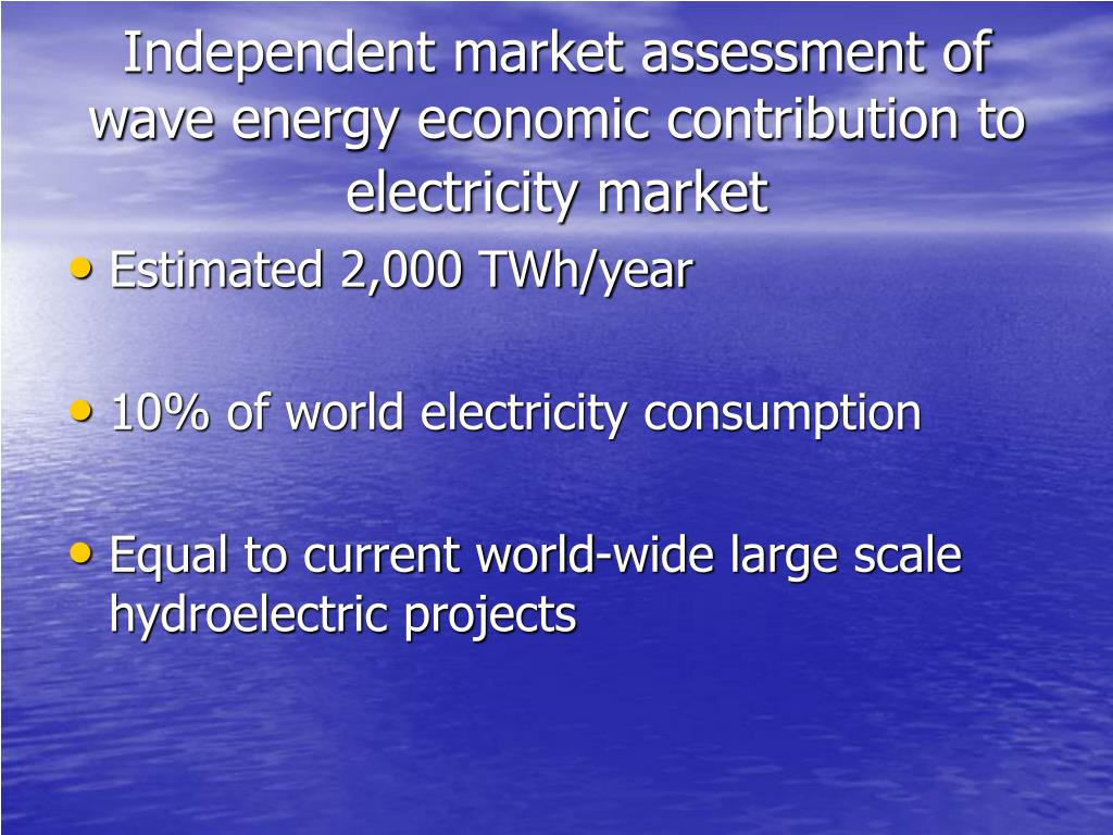 Independent market assessment of wave energy economic contribution to electricity market
