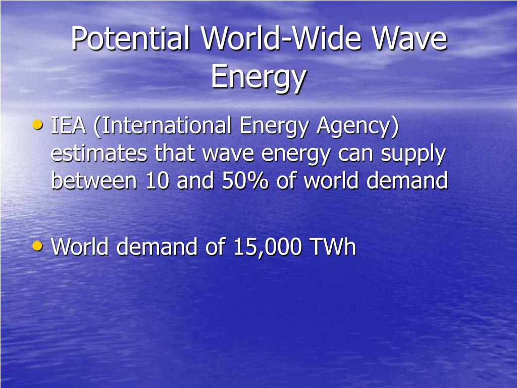 Potential World-Wide Wave Energy