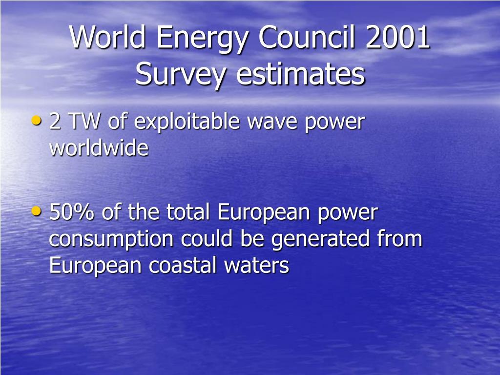 World Energy Council 2001 Survey estimates