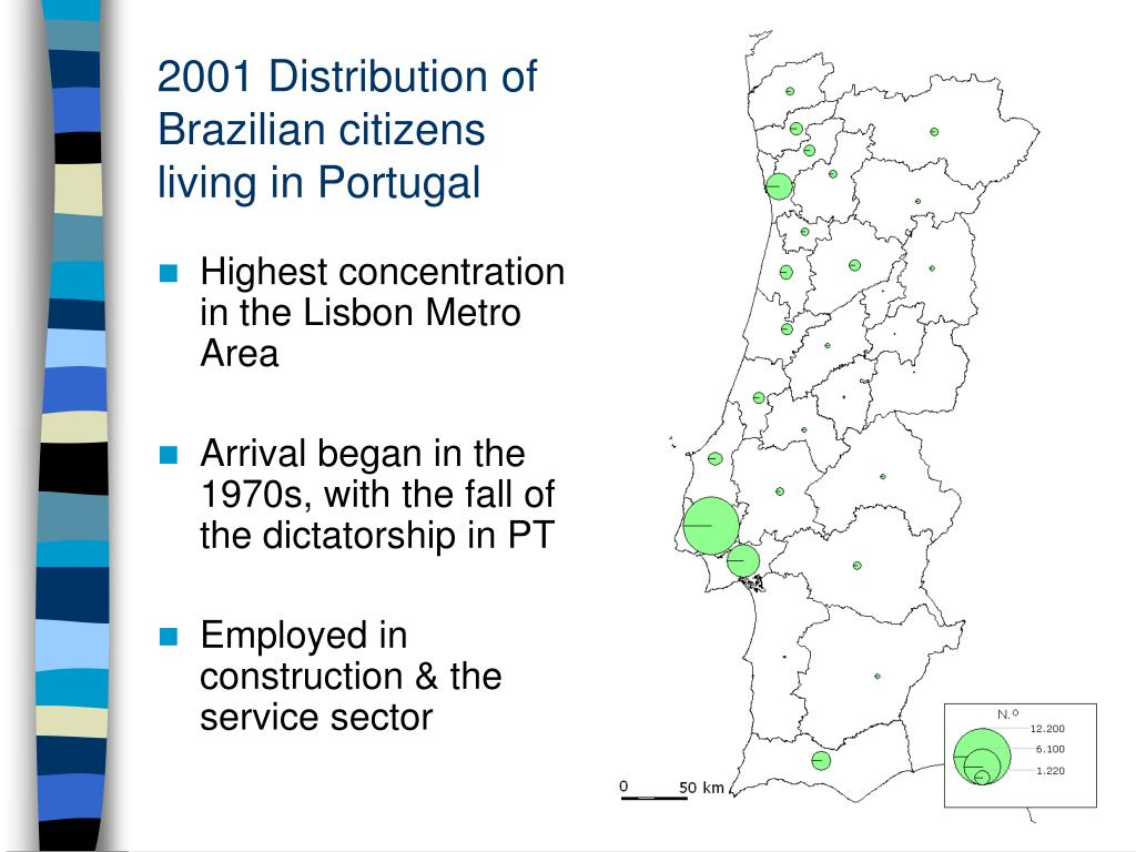 2001 Distribution of Brazilian citizens living in Portugal