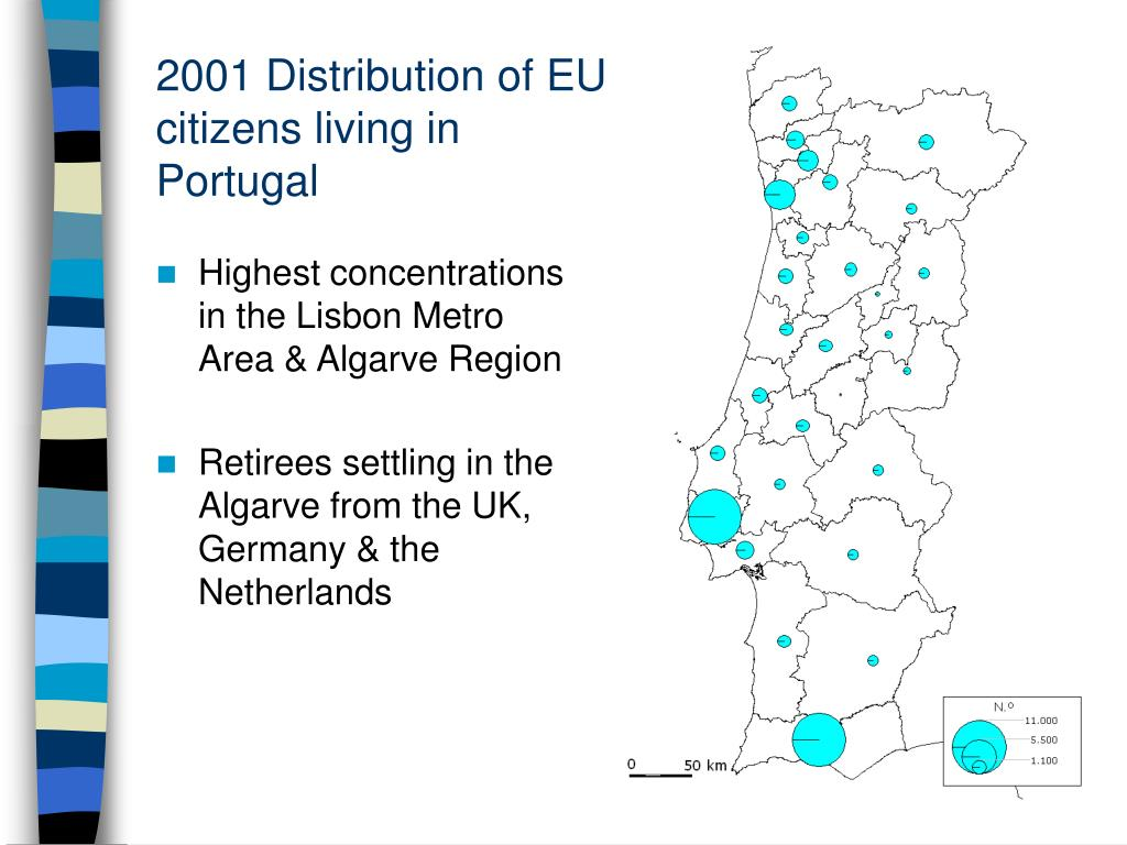 2001 Distribution of EU citizens living in Portugal