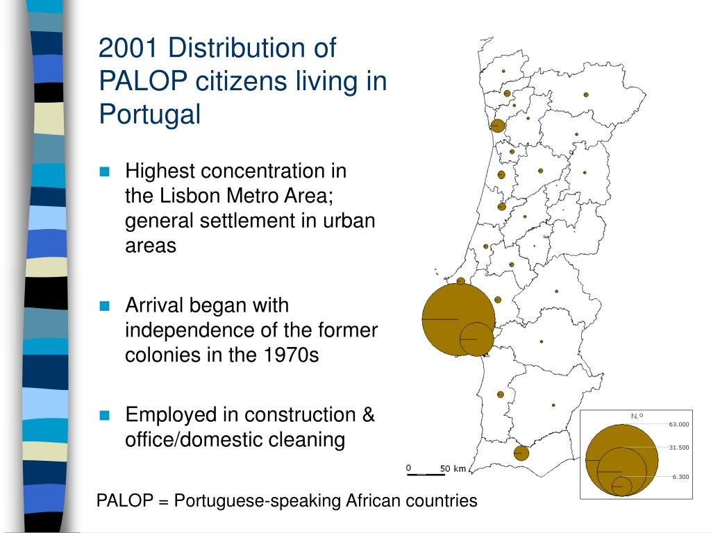 2001 Distribution of PALOP citizens living in Portugal