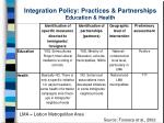 integration policy practices partnerships education health