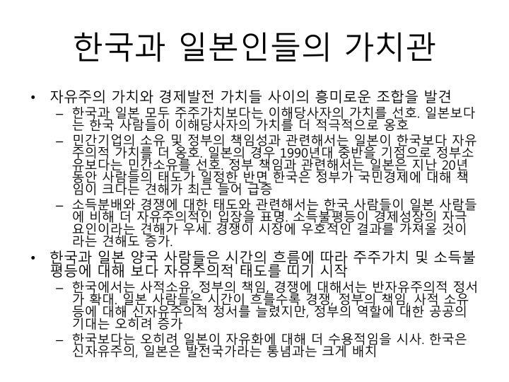 한국과 일본인들의 가치관