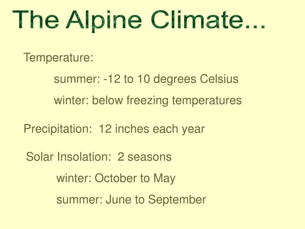 The Alpine Climate...