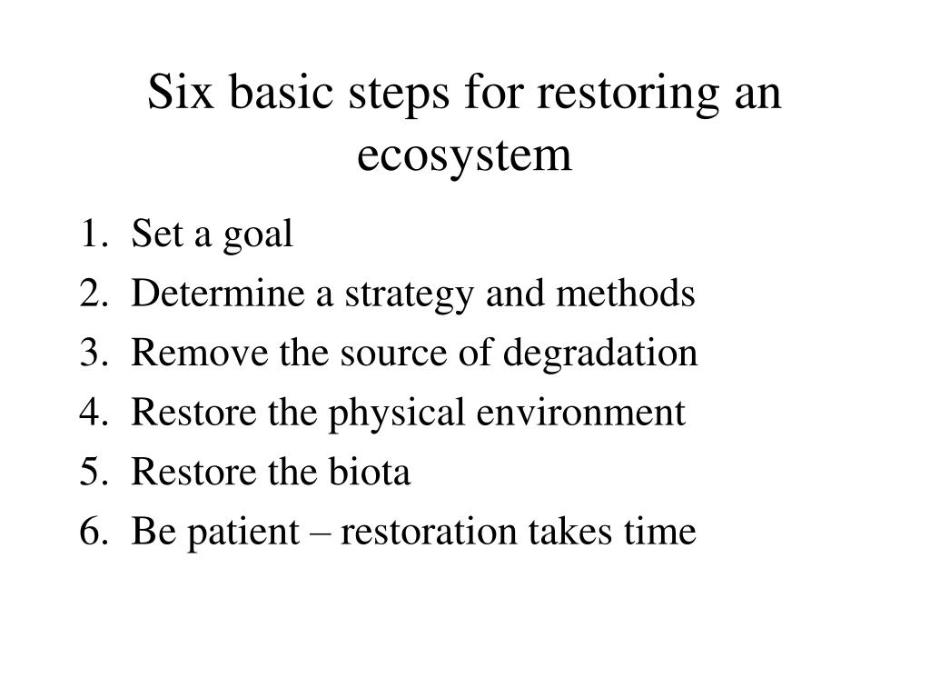 Six basic steps for restoring an ecosystem