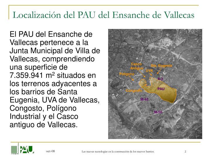 Localización del PAU del Ensanche de Vallecas