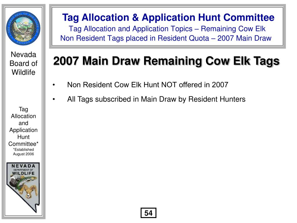 2007 Main Draw Remaining Cow Elk Tags