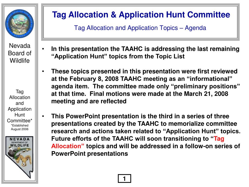 "In this presentation the TAAHC is addressing the last remaining ""Application Hunt"" topics from the Topic List"