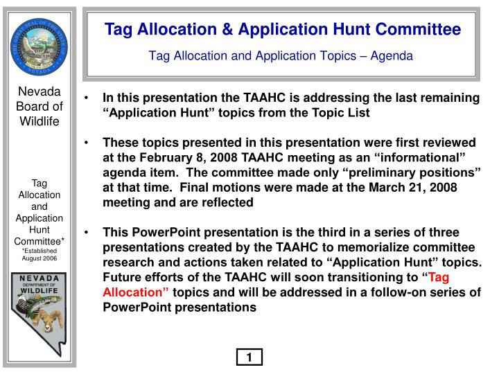 Tag allocation and application topics agenda