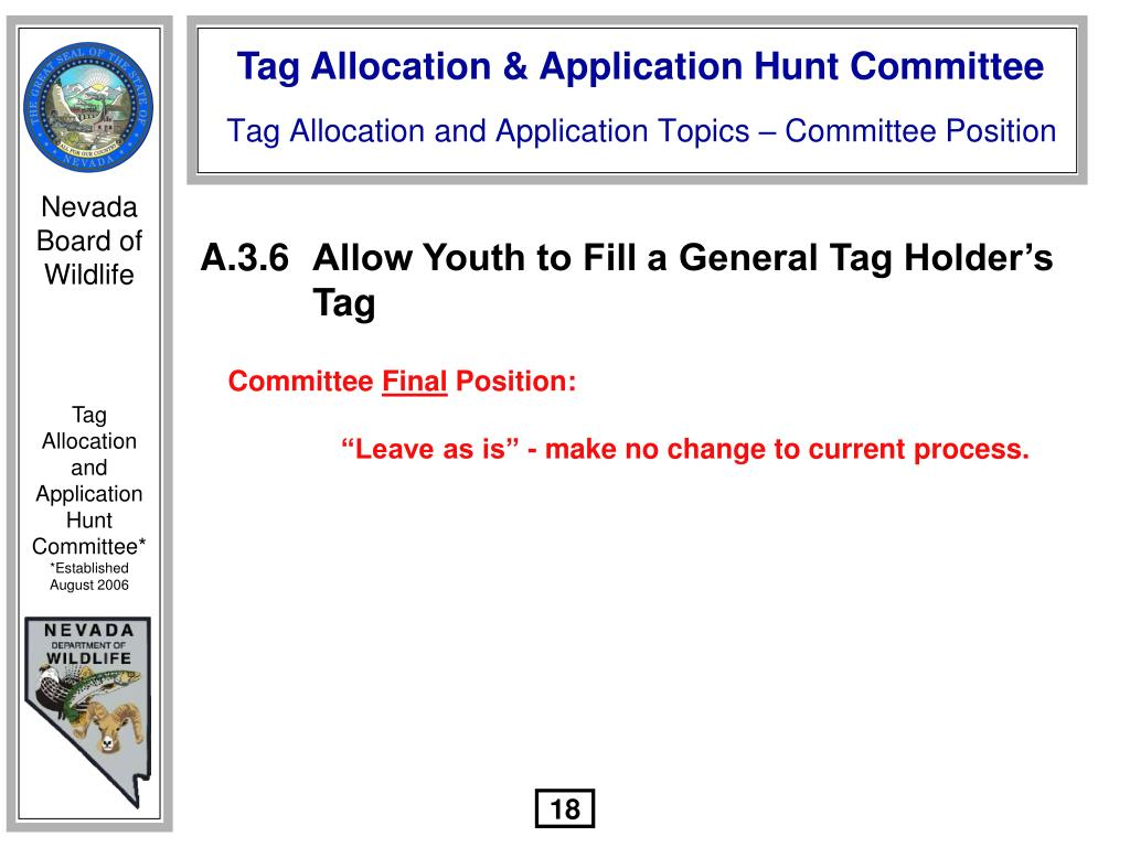 A.3.6Allow Youth to Fill a General Tag Holder's Tag