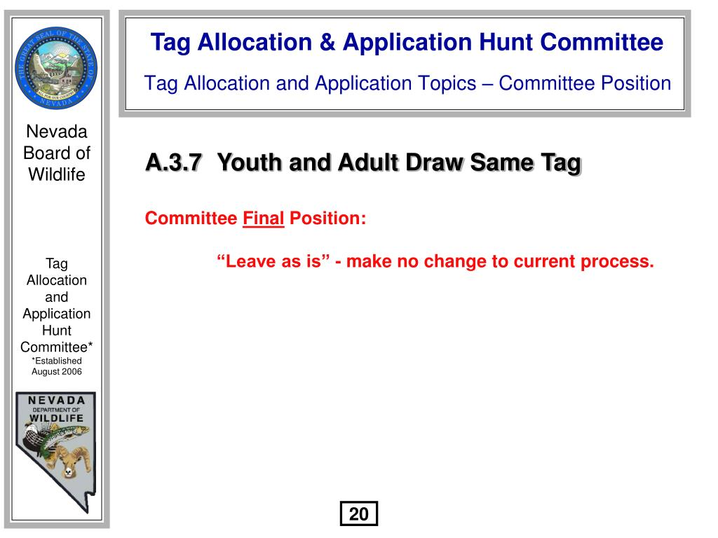 A.3.7	Youth and Adult Draw Same Tag