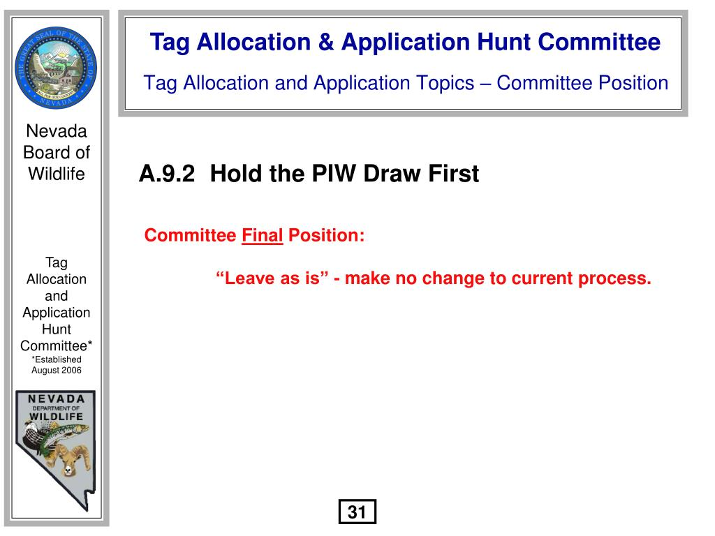 A.9.2Hold the PIW Draw First