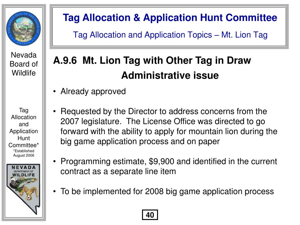 A.9.6  Mt. Lion Tag with Other Tag in Draw