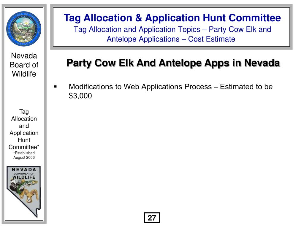 Party Cow Elk And Antelope Apps in Nevada